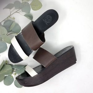 TORY BURCH Wooden Leather Strap Wedge Platform 7M